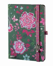 Notes A6 Lanybook Flowers Beauty w kratkę zielony,